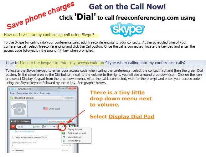 Skype Calling Instructions